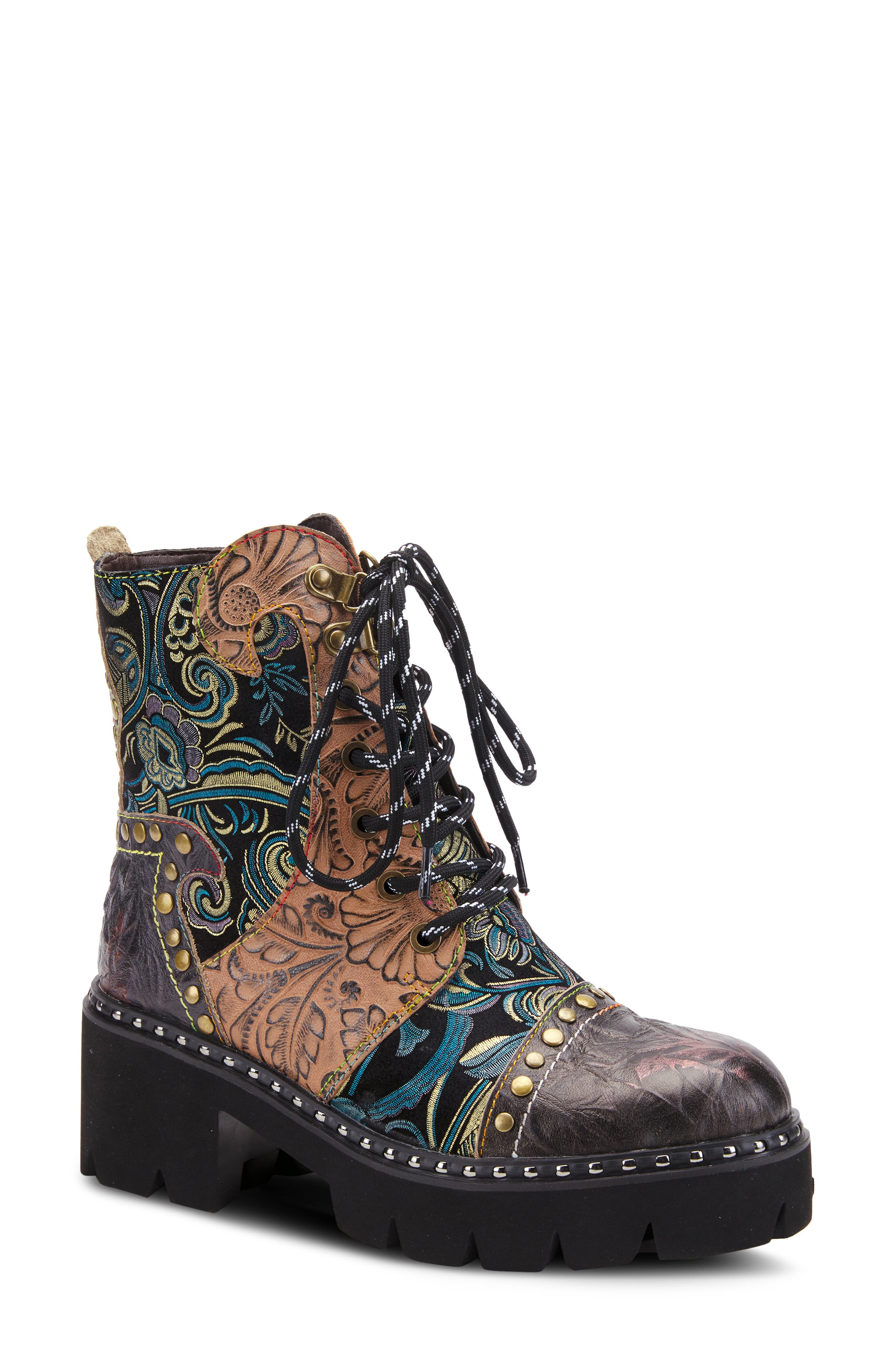 A riot of color and textures plays across this standout combat bootie accented by mixed-finish rivets and studs and grounded by a lugged platform sole. Style Name:L\\\'Artiste Severe Combat Bootie (Women). Style Number: 6117429. Available in stores.