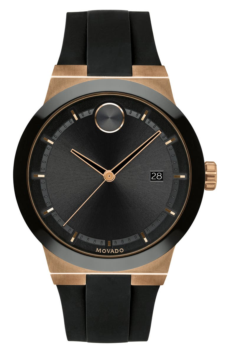 MOVADO Bold Fusion Silicone Strap Watch, 42mm, Main, color, BLACK/ ROSE GOLD