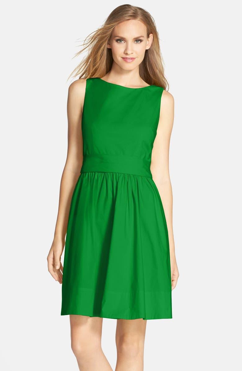 ELIZA J Open Back Tie Waist Stretch Cotton Fit & Flare Dress, Main, color, 310
