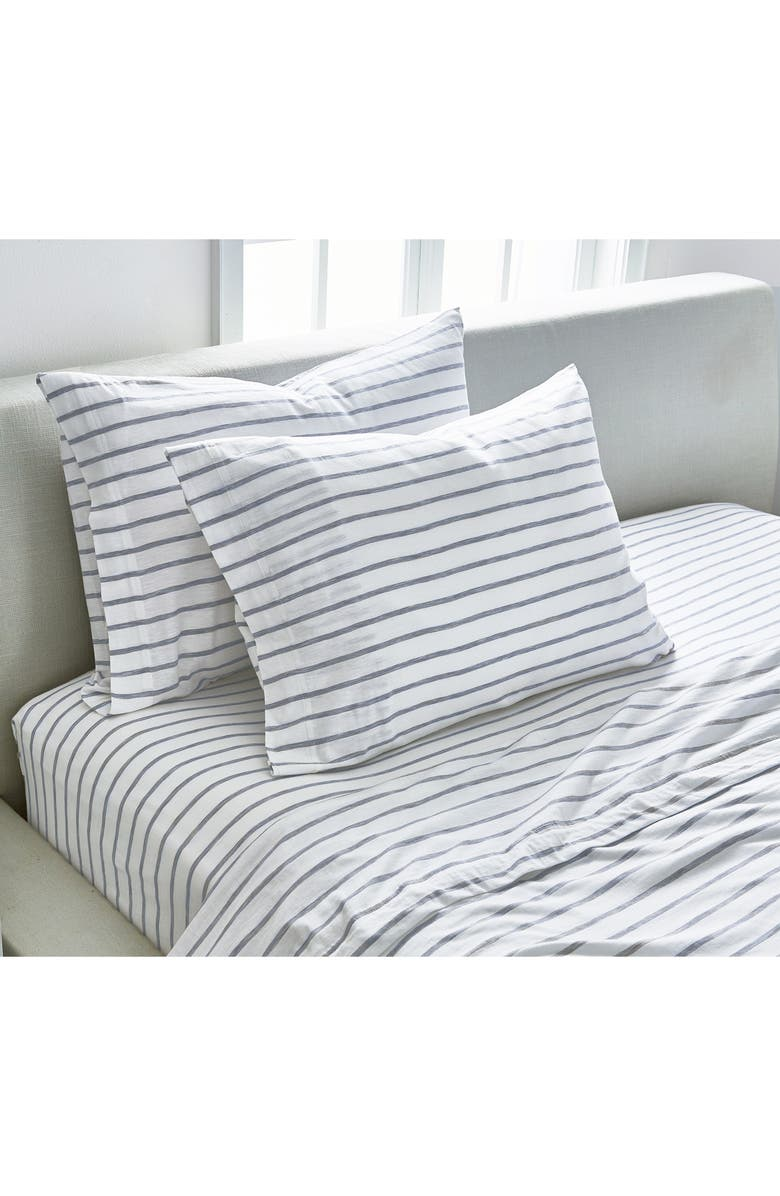 SPLENDID HOME DECOR Stripe Slub Jersey Set of 2 Pillowcases, Main, color, WHITE/ ASH