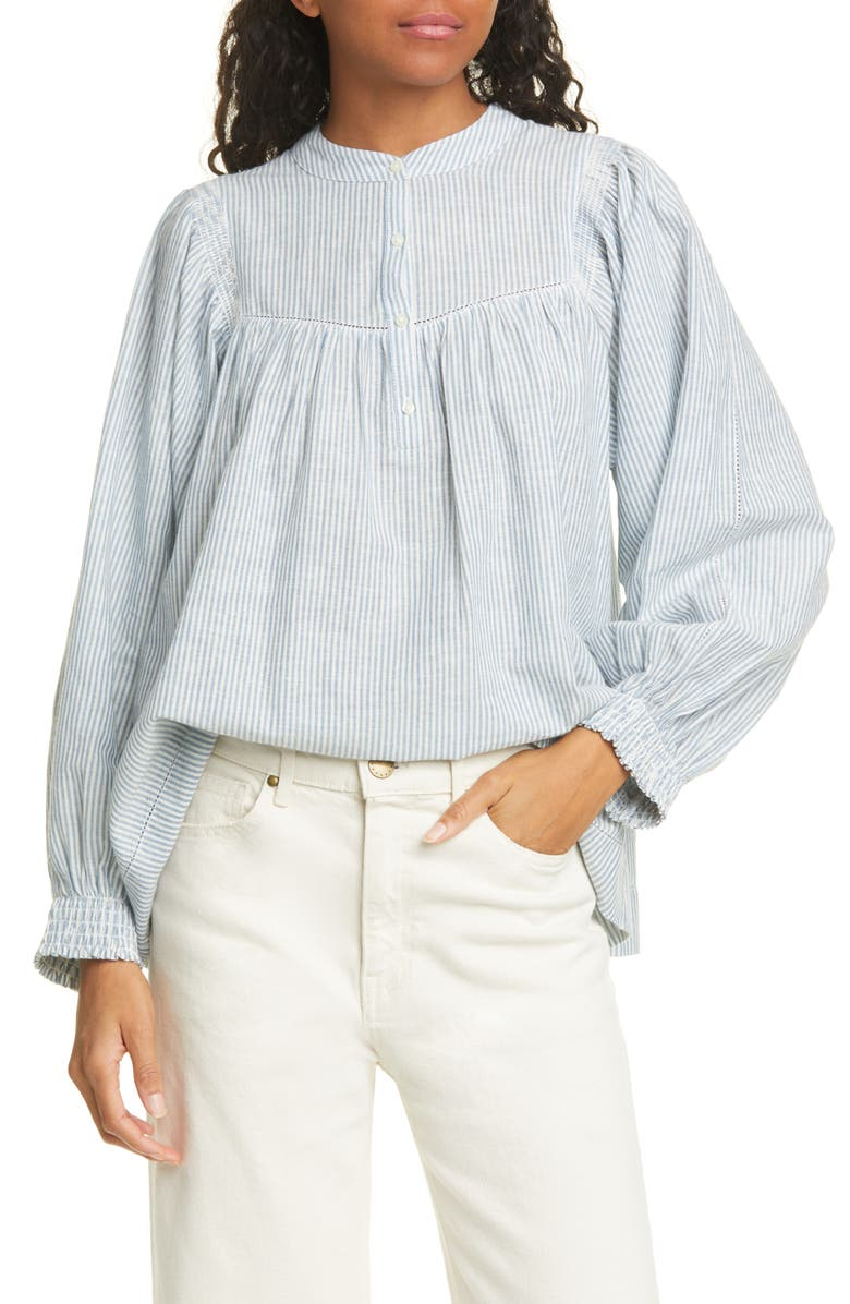 THE GREAT. The Shepherd Stripe Cotton & Linen Top, Main, color, 100