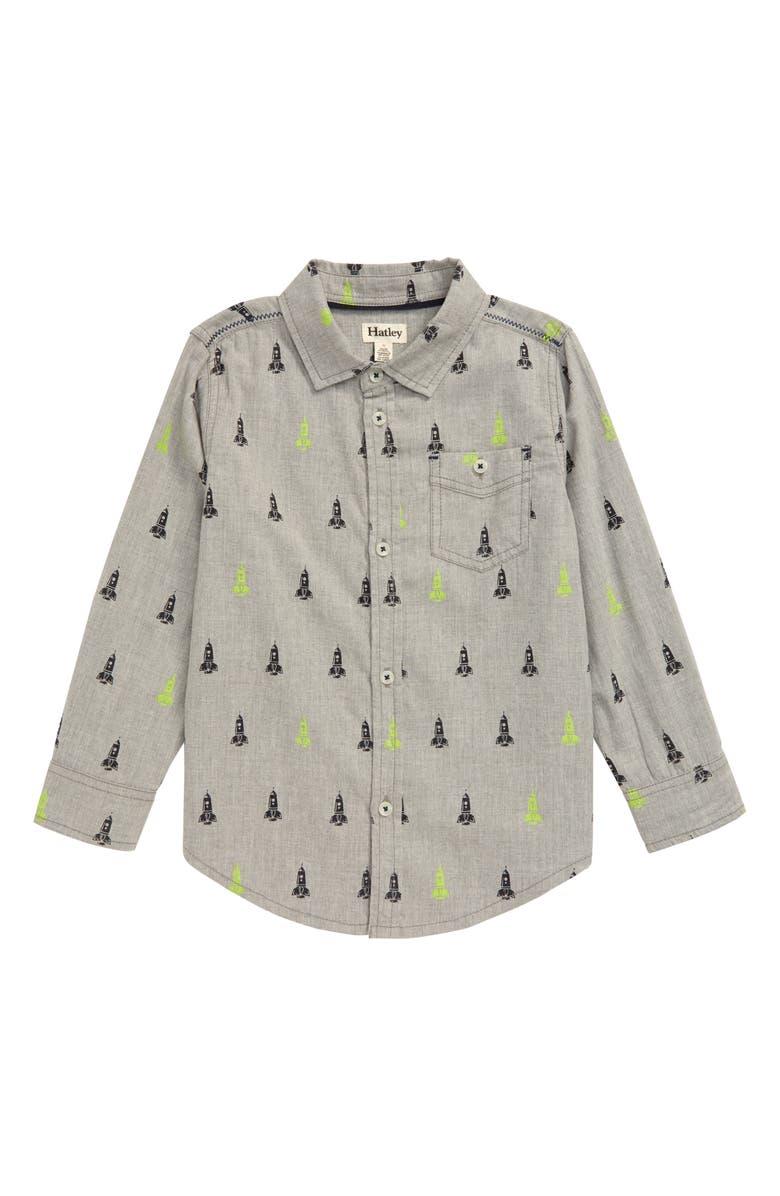 HATLEY Rocket Ships Button-Up Shirt, Main, color, GREY
