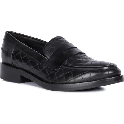 Geox Brogue Quilted Loafer, Black