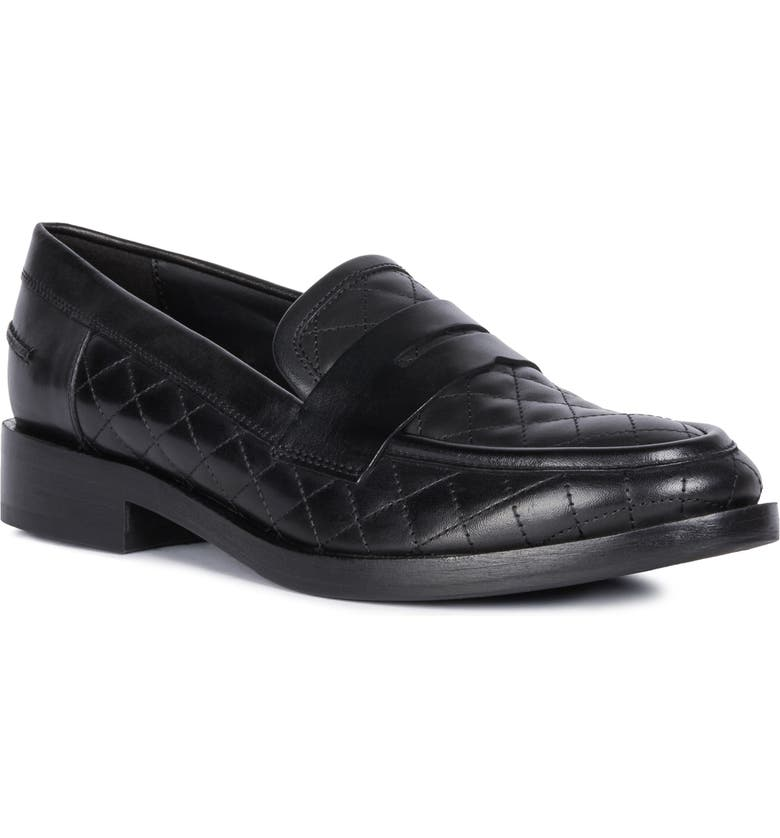GEOX Brogue Quilted Loafer, Main, color, BLACK NAPPA LEATHER