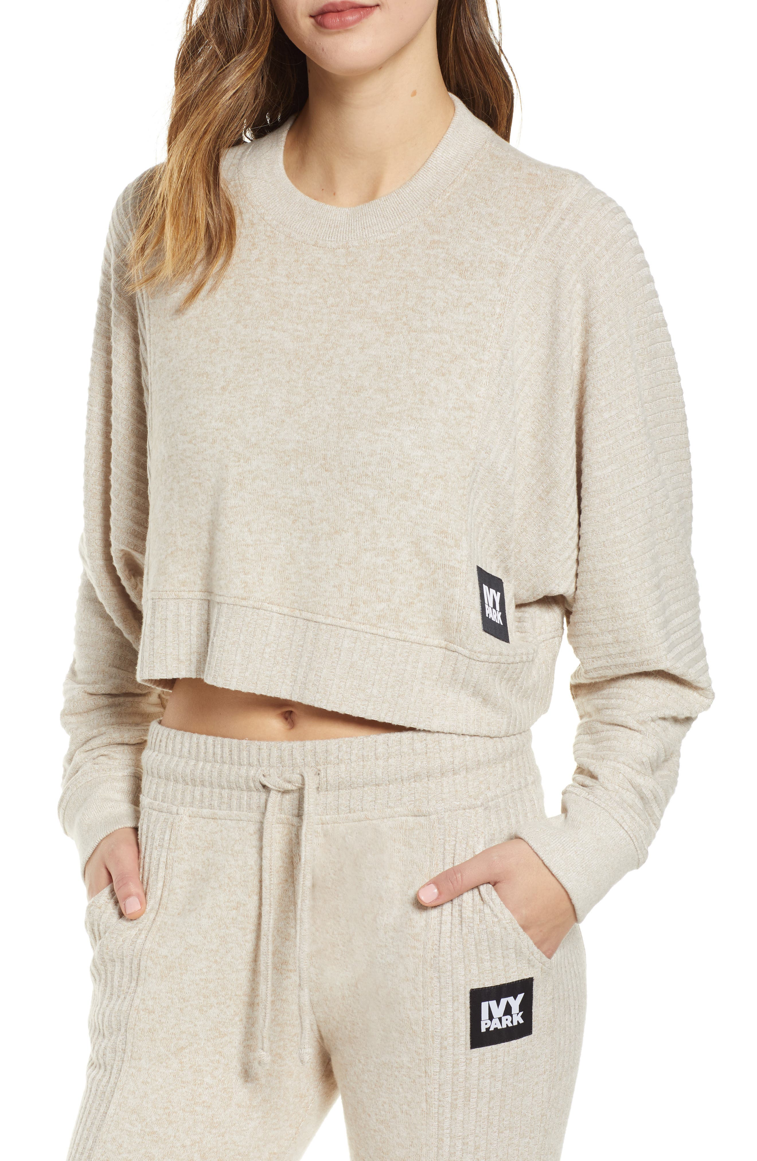 Contrast Rib Crop Lounge Sweatshirt, Main, color, BRAZILIAN SAND