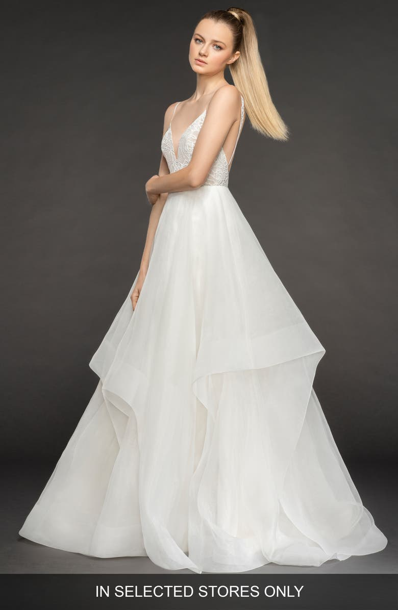 BLUSH BY HAYLEY PAIGE Perri Tiered Organza Ballgown, Main, color, IVORY/ NUDE