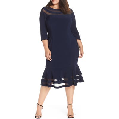 Plus Size Xscape Flounce Midi Dress, Blue