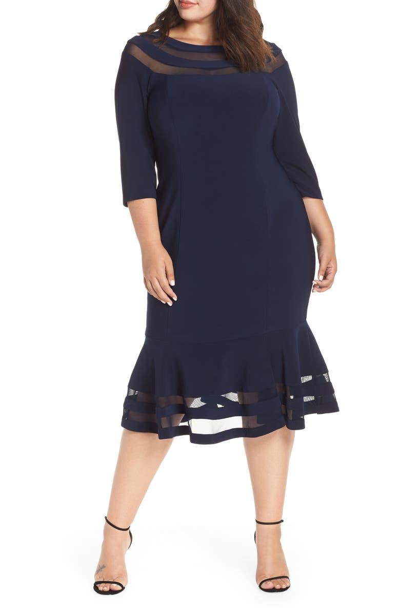 XSCAPE Flounce Midi Dress, Main, color, NAVY