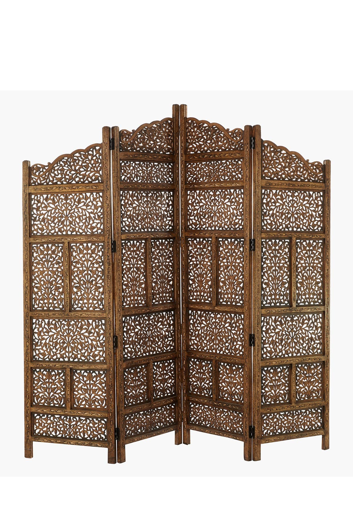 Image of Willow Row Large 4-Panel Brown Wood Screen Decorative Room Divider
