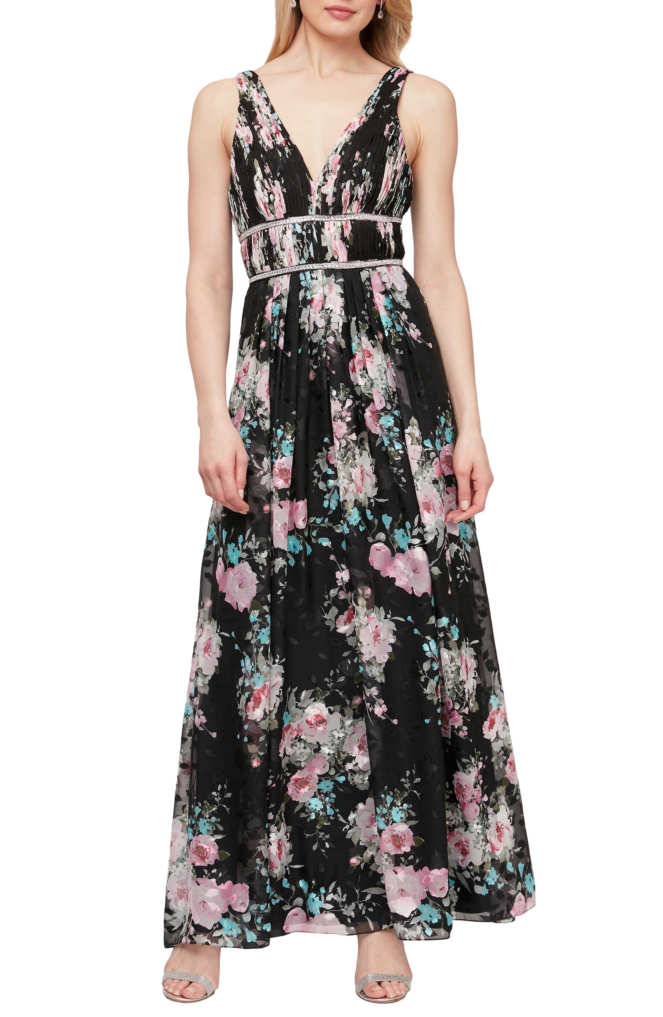 Embelished Waist Floral Print Dress