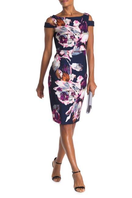 Image of Trina Turk Adley Shoulder Cutout Floral Print Dress