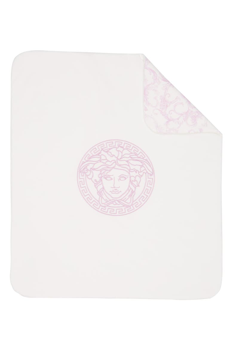 VERSACE Barocco Reversible Baby Blanket, Main, color, 5120 WHITE PINK