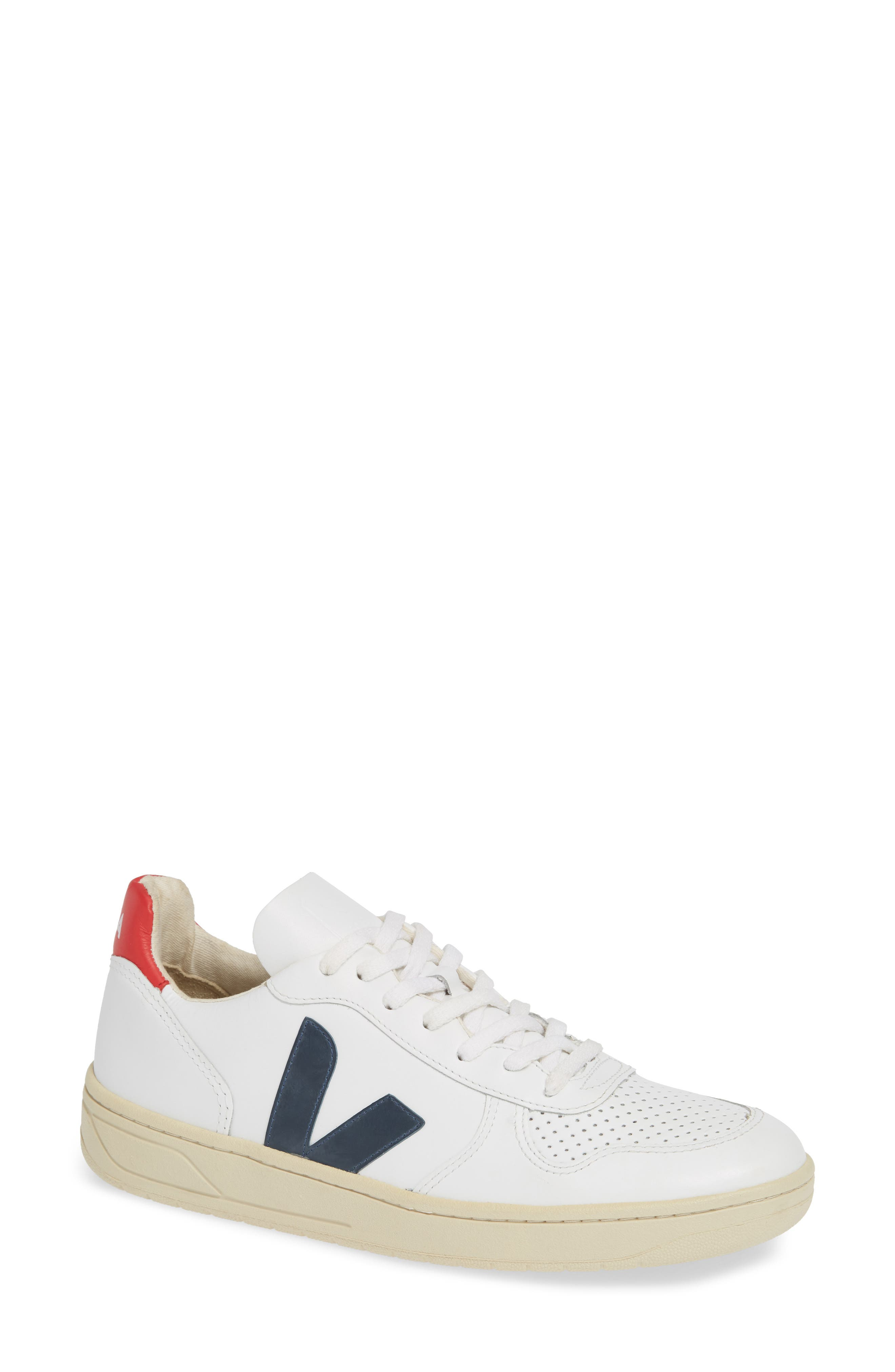 Sleek and classic, a simple V-logo brands this court-inspired pair that\'s made to make a difference. Crafted from leather sourced from Rio Grande do Sul farms and tanned according to REACH norms, the lining is made from recycled fabric and the soles are wild Amazonian rubber. Style Name: Veja V-10 Sneaker (Women). Style Number: 5713334 1. Available in stores.