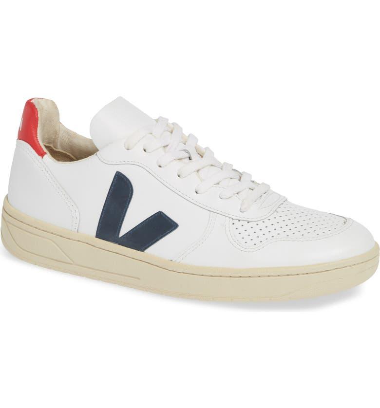 VEJA V-10 Sneaker, Main, color, EXTRA WHITE NAUTICO PEKIN