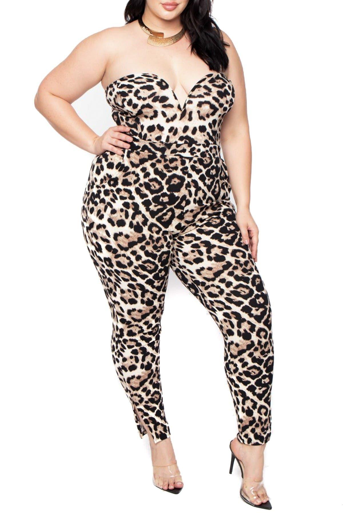 Curvy Sense Strapless Animal Print Jumpsuit