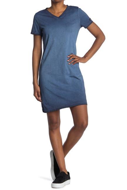 Image of Calvin Klein V-Neck Washed T-Shirt Dress