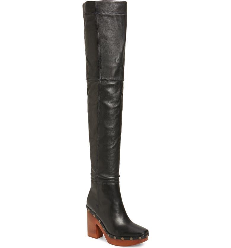 JACQUEMUS Les Bottes Sabots Hautes Thigh High Boot, Main, color, BLACK