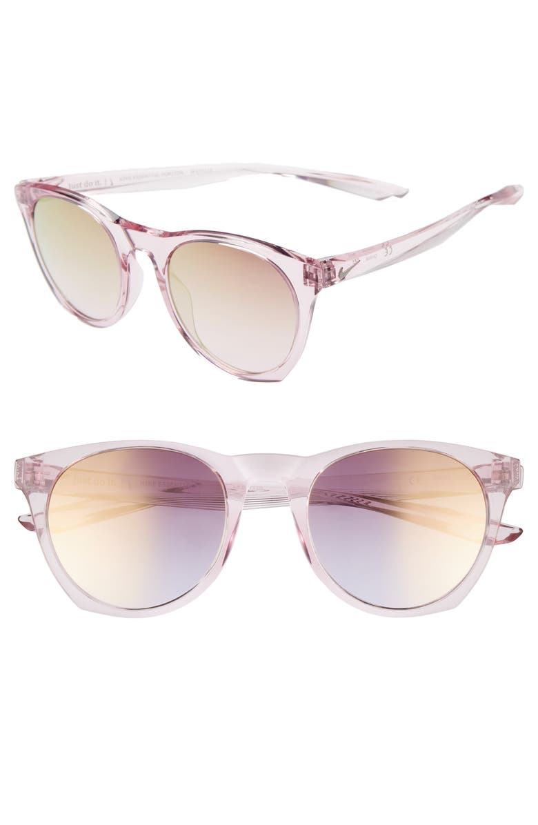 NIKE Essential Horizon 51mm Mirror Sunglasses, Main, color, PLUM CHALK/ PINK