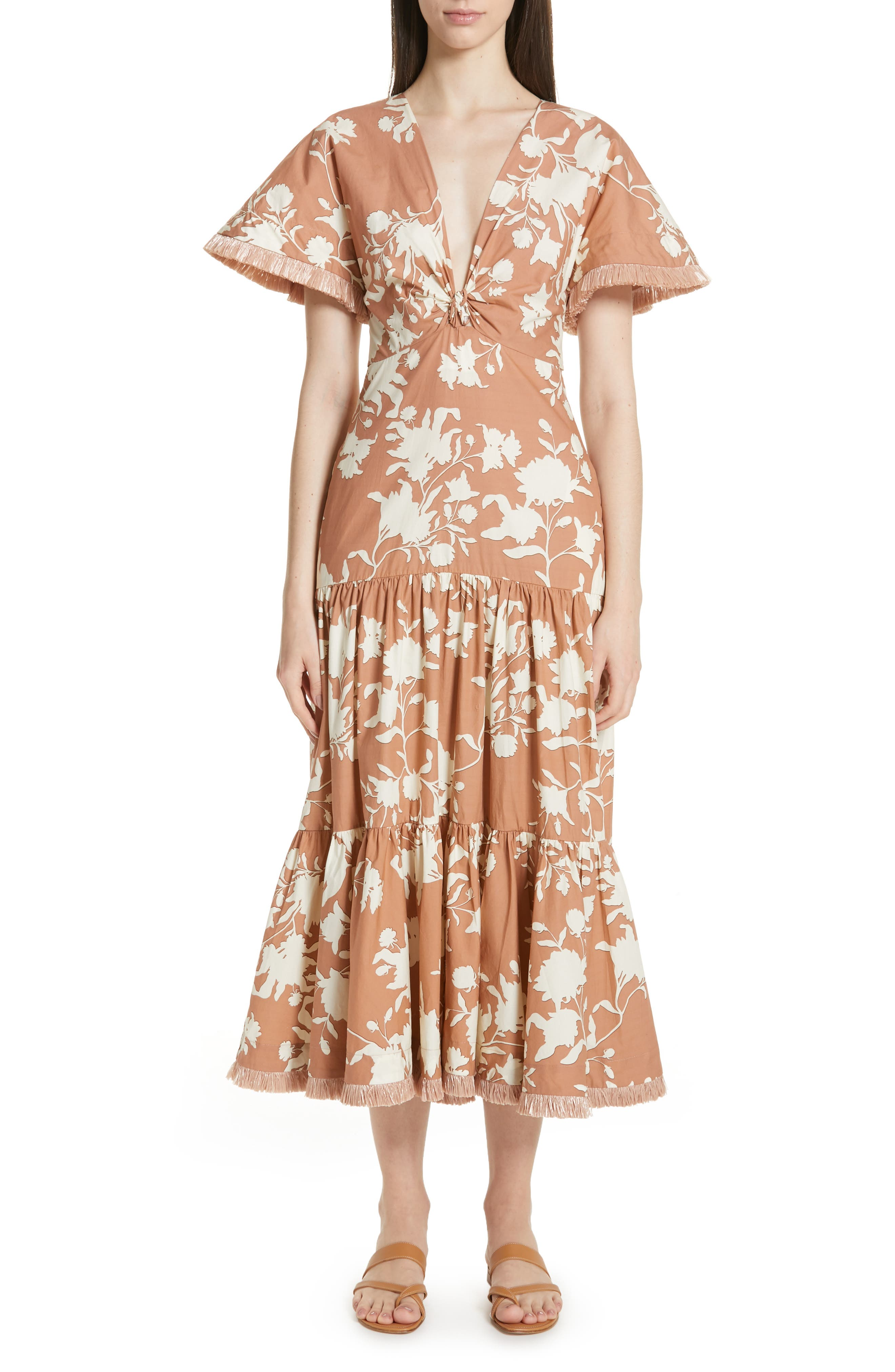 Johanna Ortiz Tea House Raffia Trim Floral Print Dress, Brown