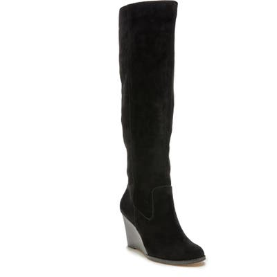 Sole Society Prony Knee High Wedge Boot, Black