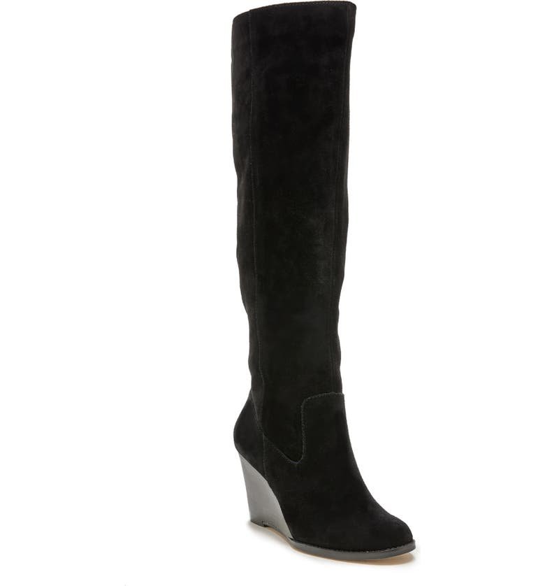 SOLE SOCIETY Prony Knee High Wedge Boot, Main, color, BLACK LEATHER