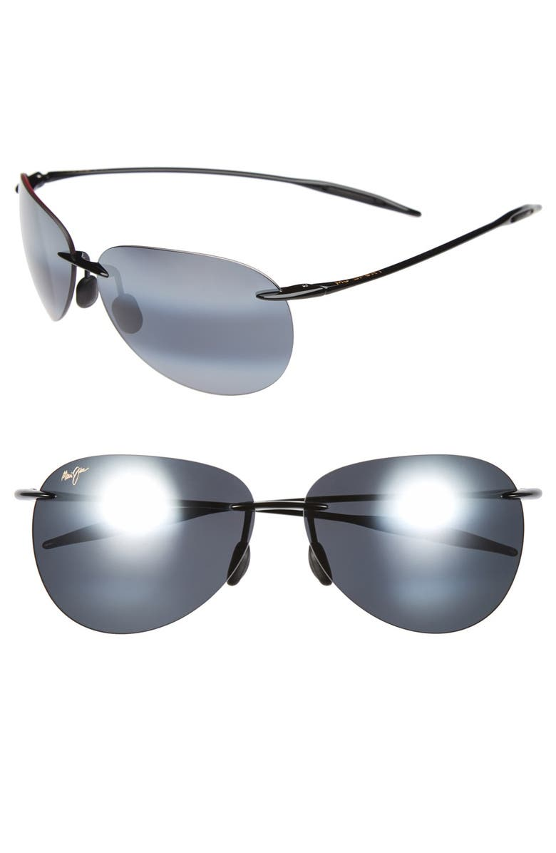 MAUI JIM Sugar Beach 62mm PolarizedPlus2<sup>®</sup> Rimless Sunglasses, Main, color, GLOSS BLACK/ NEUTRAL GREY