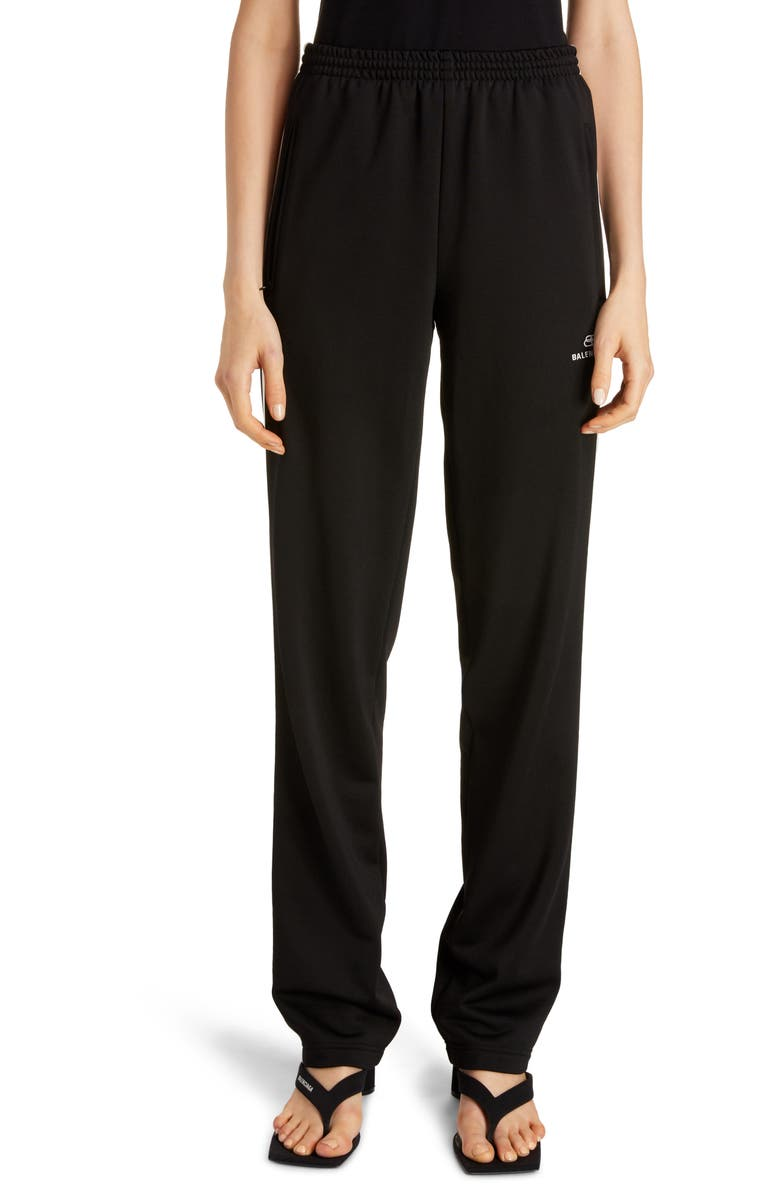 BALENCIAGA Logo Stripe Track Pants, Main, color, BLACK/ WHITE