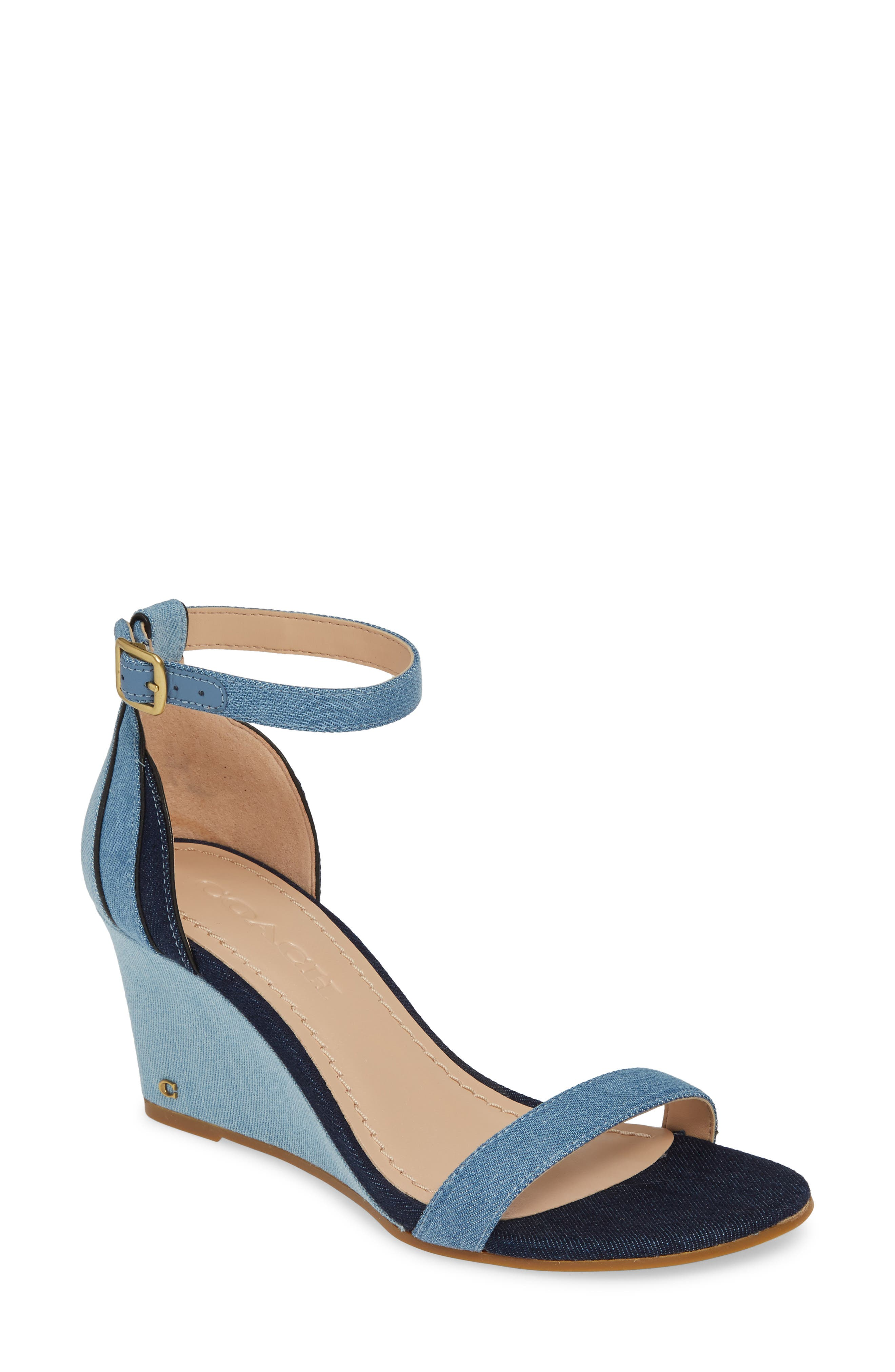 ,                             Olive Wedge Sandal,                             Main thumbnail 1, color,                             DENIM MULTI LEATHER