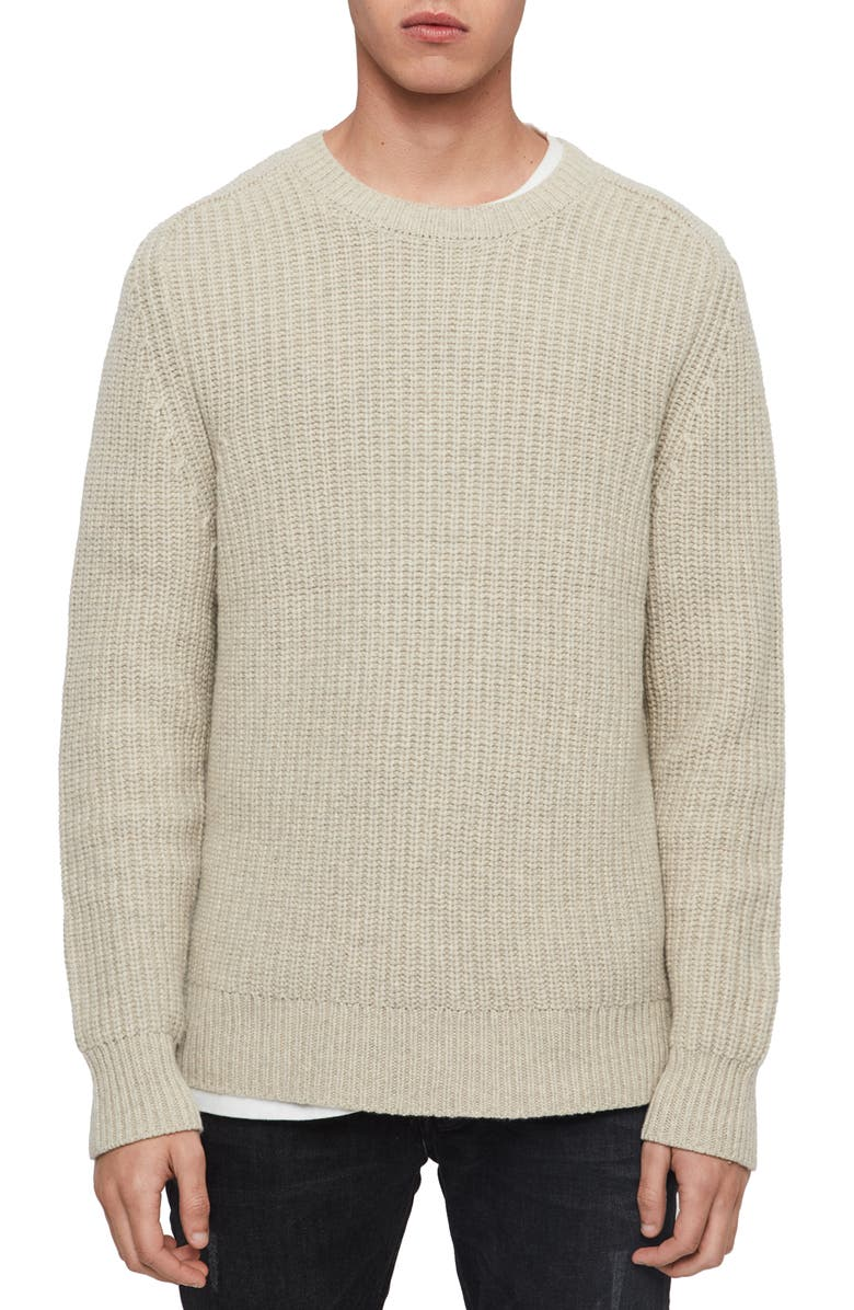 ALLSAINTS Galley Crewneck Wool Sweater, Main, color, TAUPE MARL