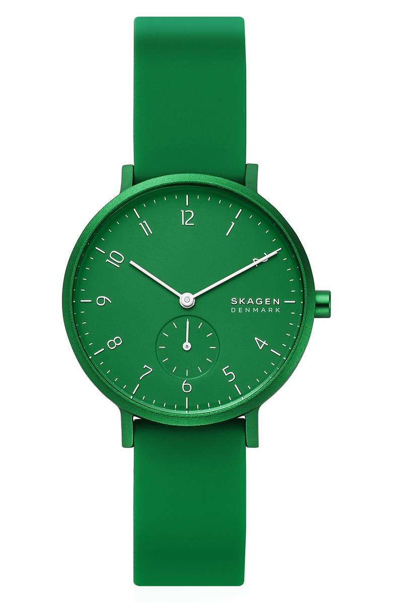 SKAGEN Aaren Kulør Rubber Strap Watch, 36mm, Main, color, GREEN
