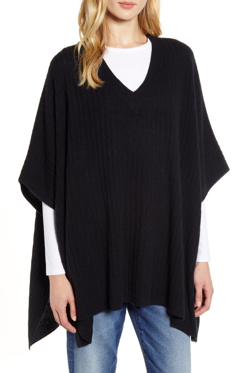 HALOGEN<SUP>®</SUP> Easy Cashmere Poncho, Main, color, BLACK
