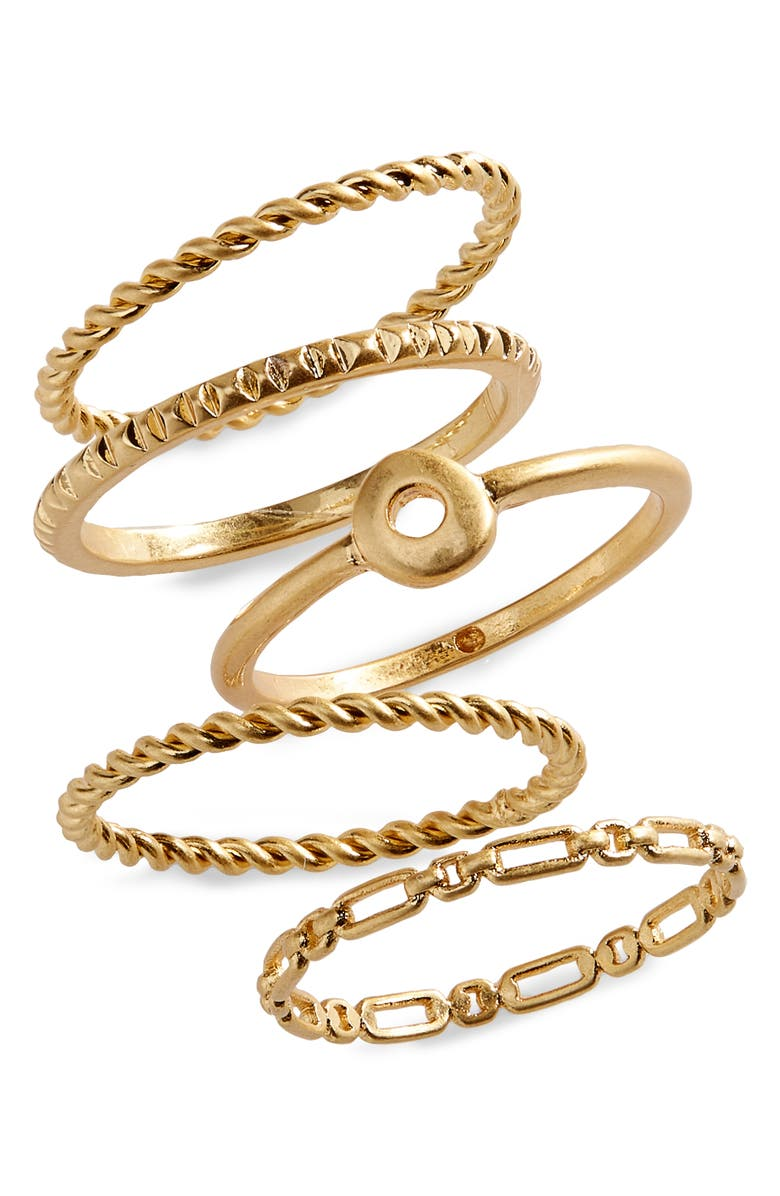 MADEWELL Circlet Set of Five Stacking Rings, Main, color, VINTAGE GOLD