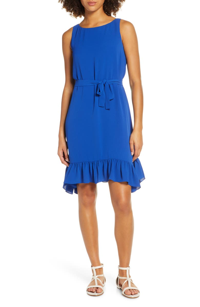 CHARLES HENRY Tie Waist Crepe Dress, Main, color, PATRIOT BLUE