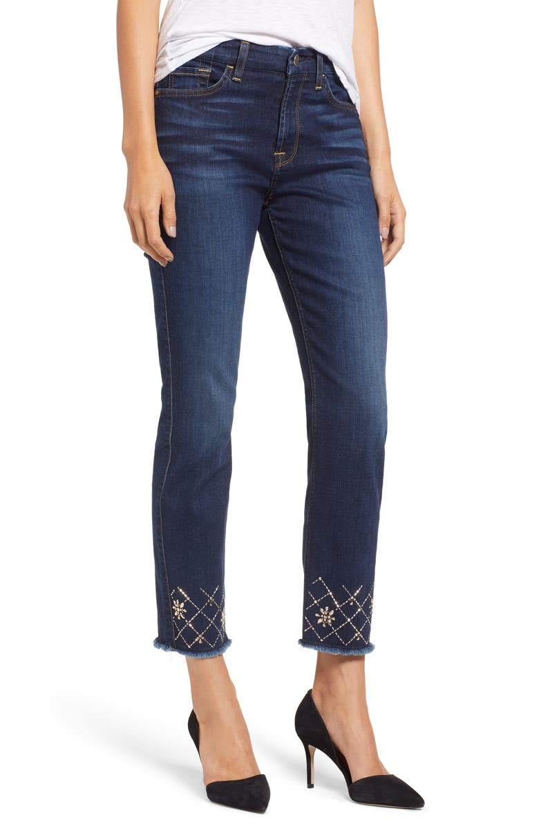 JEN7 BY 7 FOR ALL MANKIND Embellished Ankle Straight Leg Jeans, Main, color, PRETTY DARK HUDSON