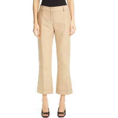 Marni Crop Flare Cotton Pants, US - Beige