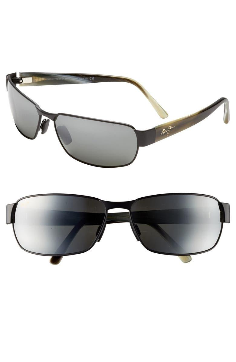 MAUI JIM 'Black Coral - PolarizedPlus<sup>®</sup>2' 65mm Sunglasses, Main, color, MATTE BLACK