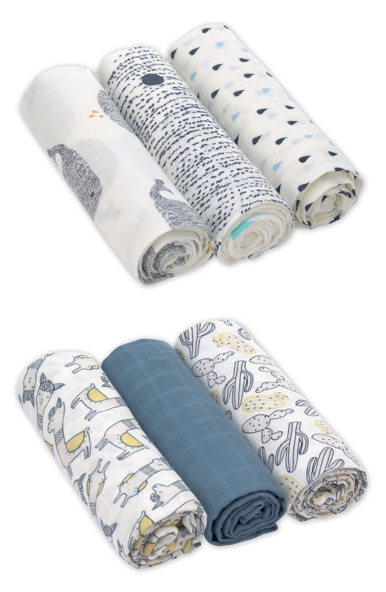 LÄSSIG Heavenly Soft 6-Pack XL Cotton Muslin Swaddles, Main, color, 400