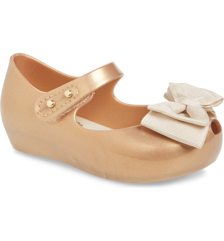 MINI MELISSA 'Ultragirl Sweet' Mary Jane Flat, Main, color, GOLD GLITTER