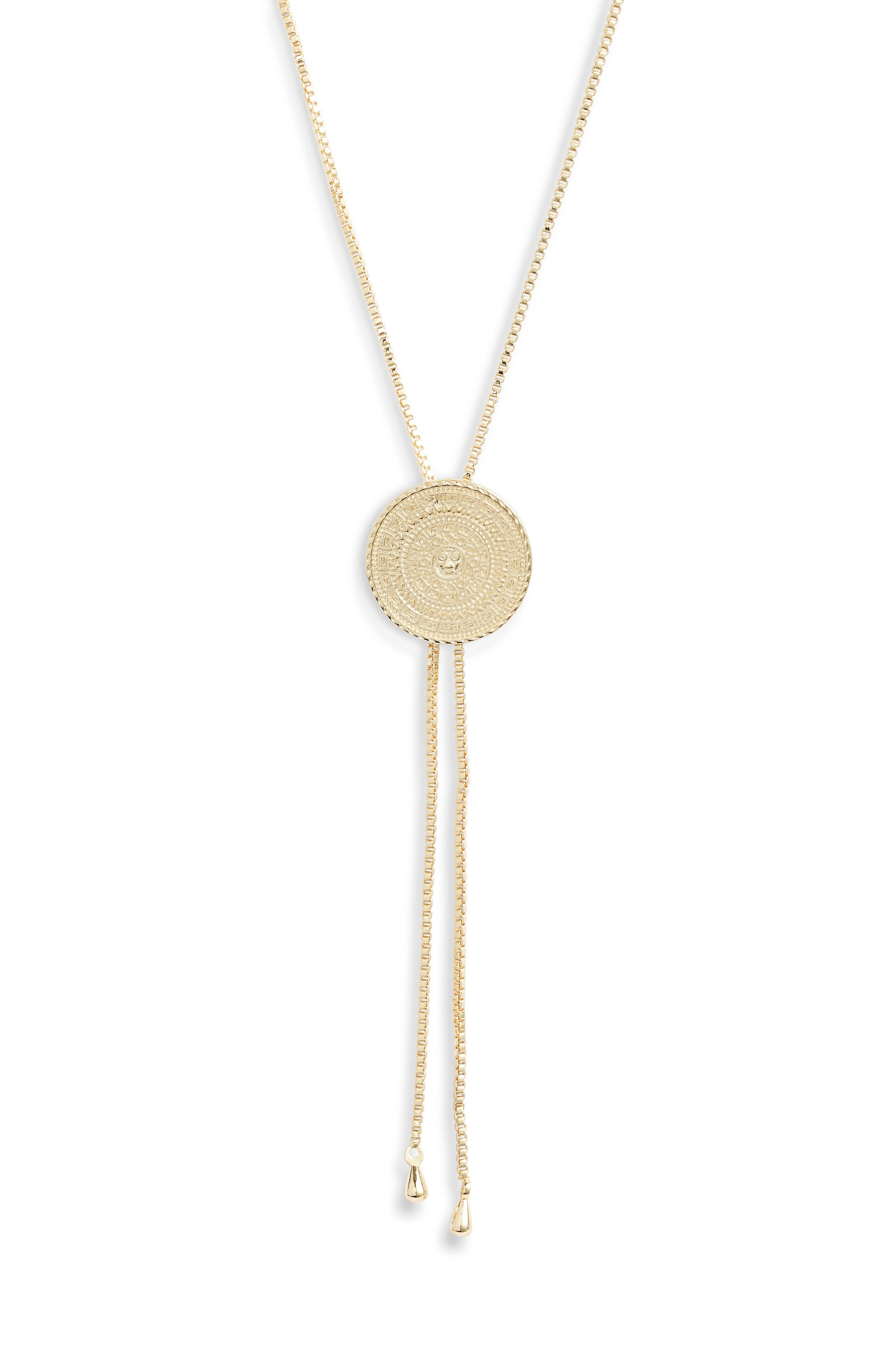 An intricately embossed pendant gleams on a bolo-style necklace that\\\'s a sophisticated addition to any look. Style Name: Sterling Forever Bolo Necklace. Style Number: 5868279. Available in stores.