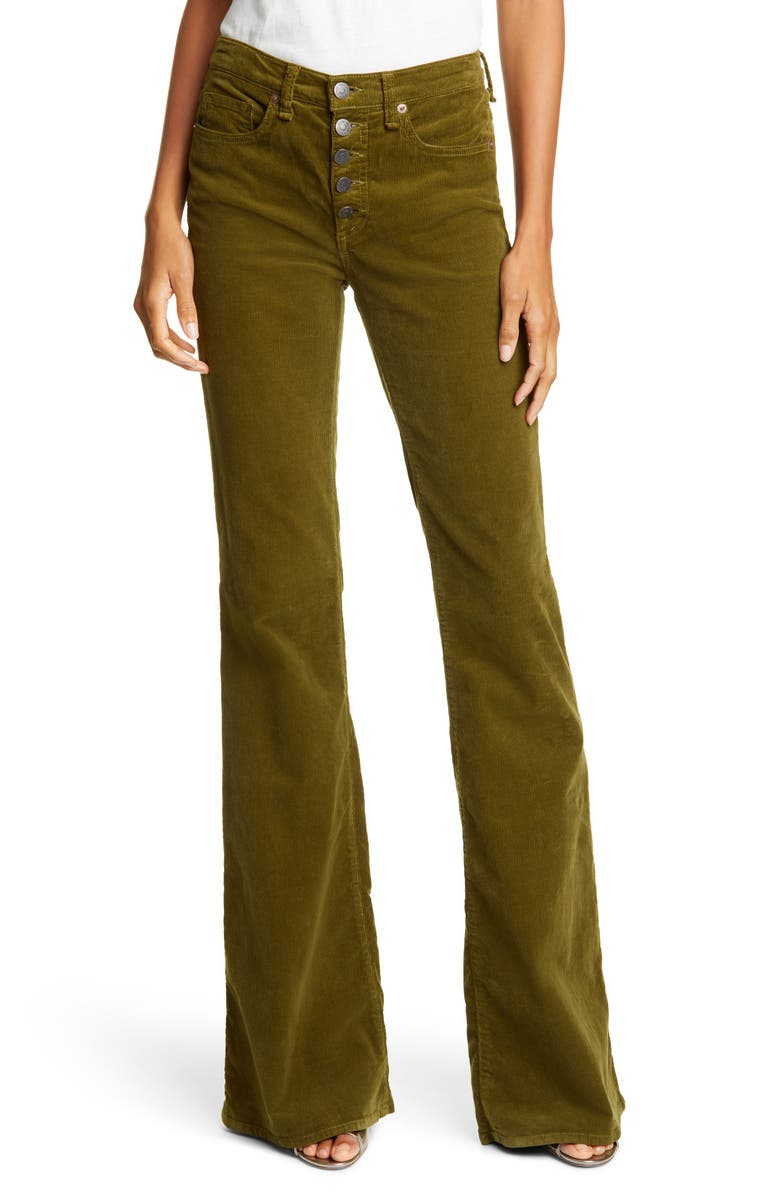VERONICA BEARD Beverly High Waist Corduroy Flare Pants, Main, color, MOSS