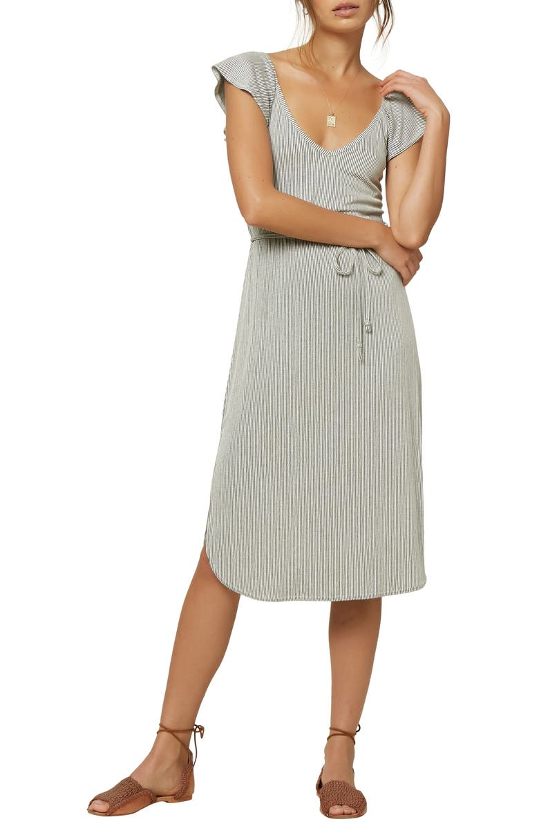 O'NEILL Deviea Flutter Sleeve Stripe Dress, Main, color, 001