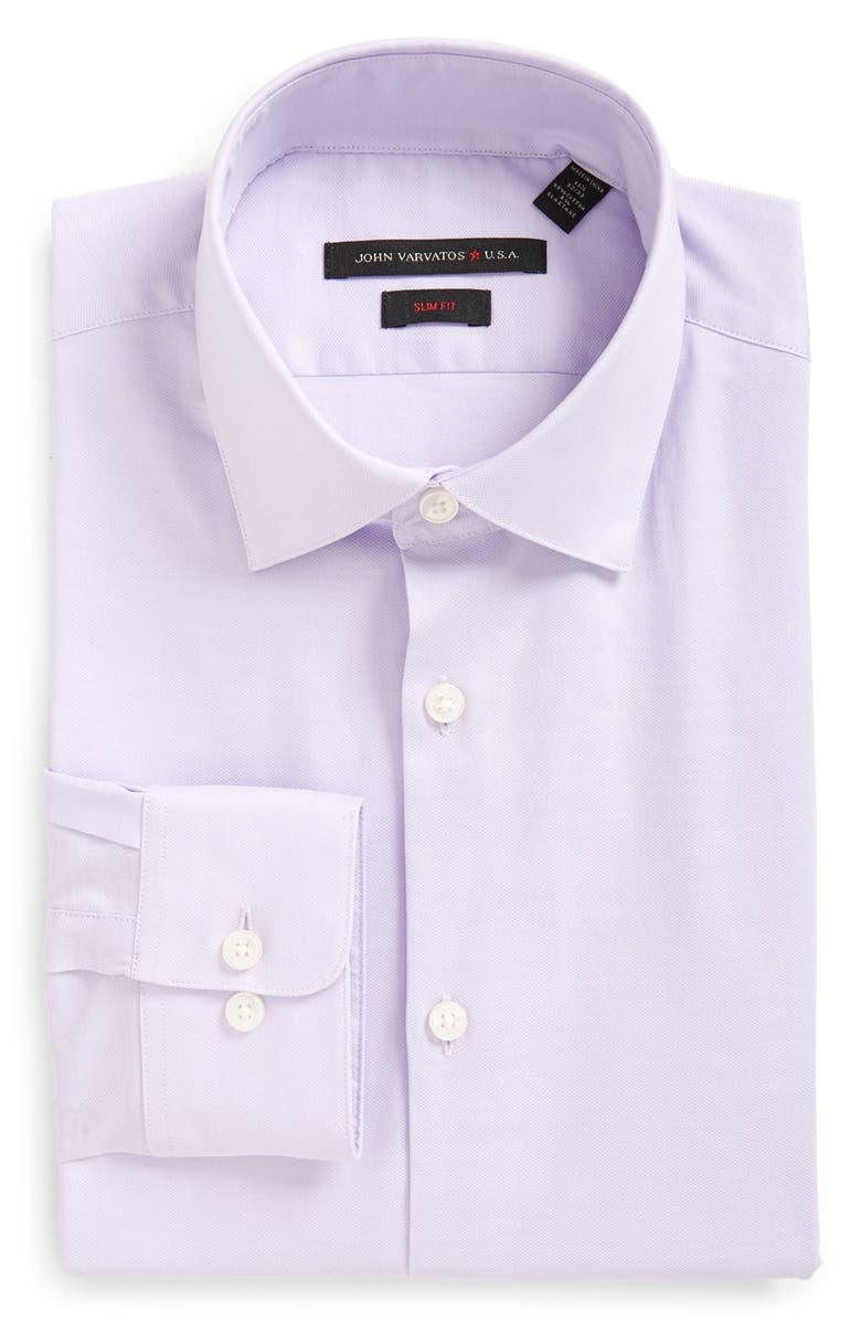 JOHN VARVATOS STAR USA Soho Slim Fit Stretch Solid Dress Shirt, Main, color, LAVENDER