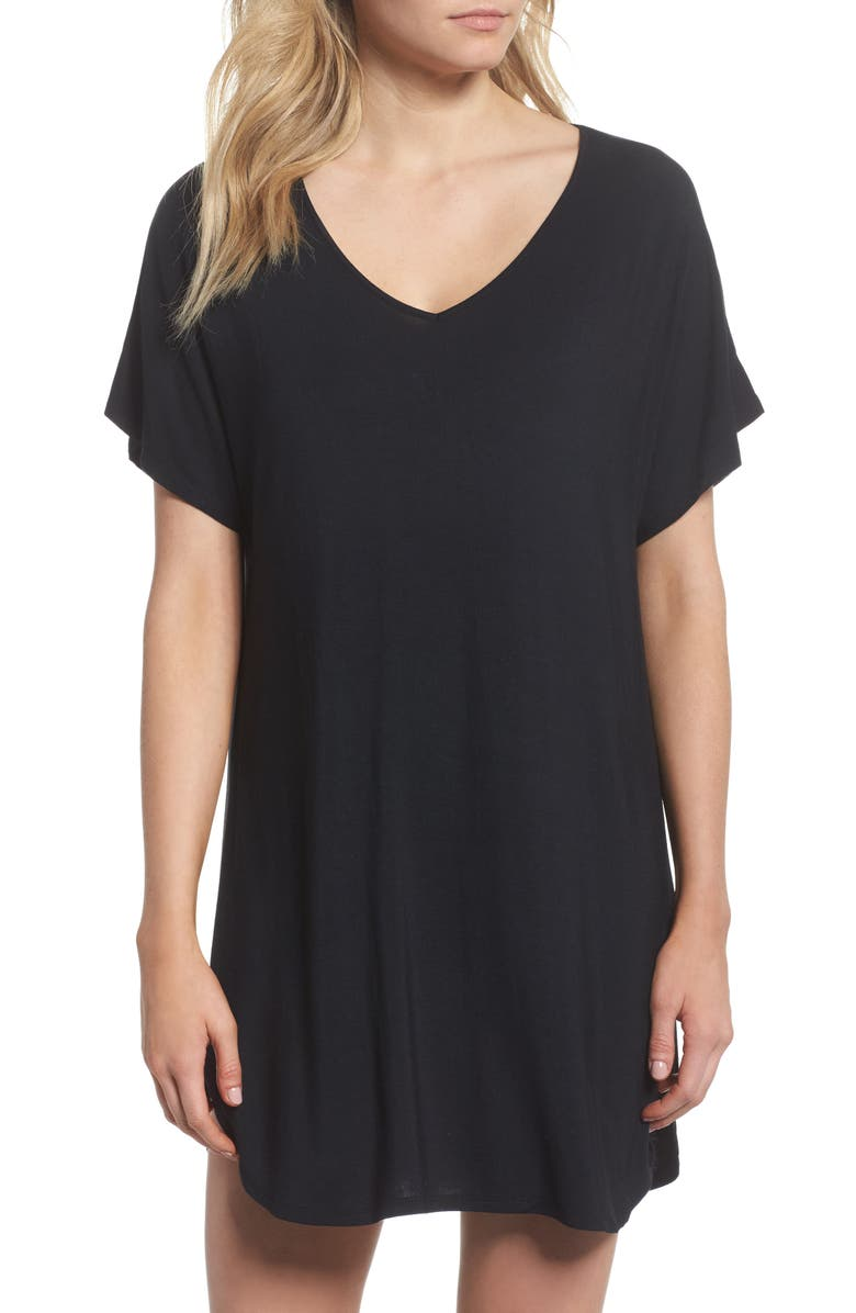 NORDSTROM LINGERIE Dolman Sleeve Nightshirt, Main, color, BLACK