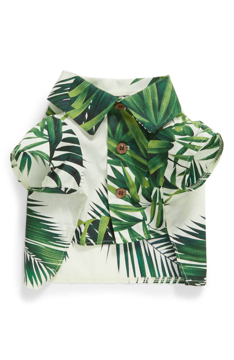 DOG THREADS Havana Palms BBQ Dog Shirt, Main, color, IVORY / GREEN