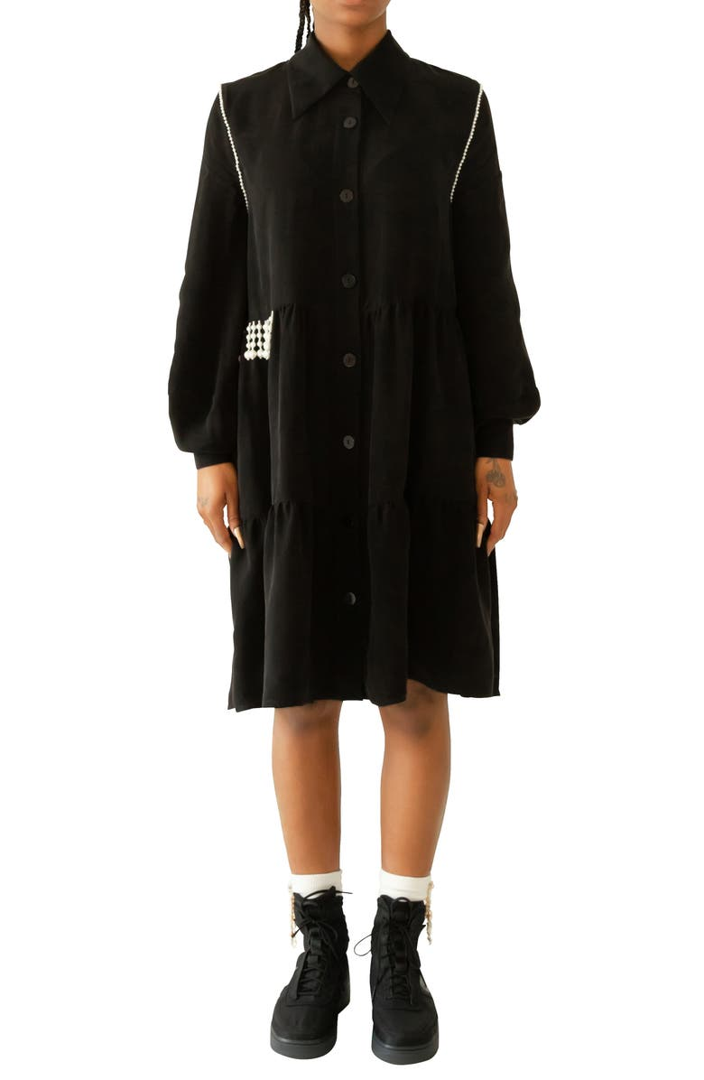 KKCO Beaded Long Sleeve Shirtdress, Main, color, BLACK