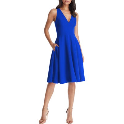 Dress The Population Catalina Fit & Flare Cocktail Dress, Blue