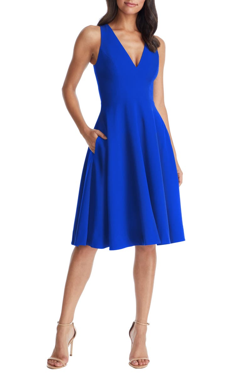 DRESS THE POPULATION Catalina Fit & Flare Dress, Main, color, ELECTRIC BLUE