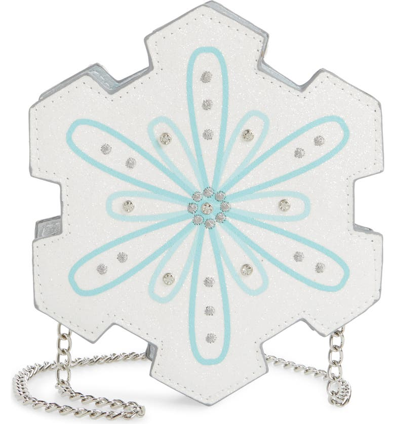 CAPELLI NEW YORK Chunky Glitter Snowflake Crossbody Bag, Main, color, SILVER COMBO