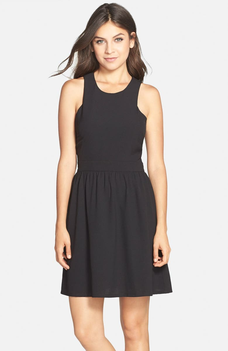CHARLES HENRY Crepe Fit & Flare Dress, Main, color, 001