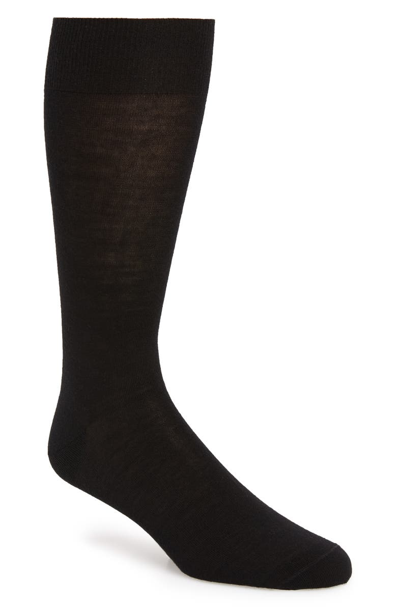 NORDSTROM SIGNATURE Merino Wool Blend Dress Socks, Main, color, BLACK